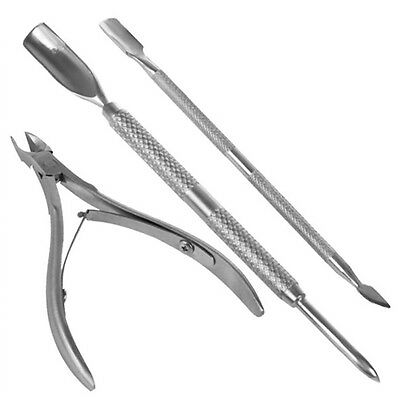 Stainless Steel Nail Cuticle Spoon Pusher Remover Cutter Nipper Clipper Cut