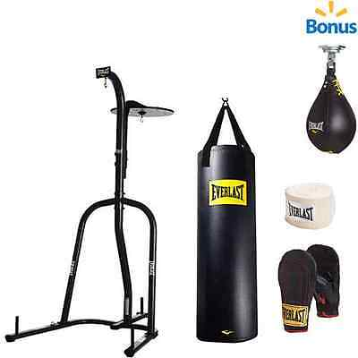 Everlast Dual Station Heavy Bag Stand Black 70 Lb Kit Speed Bag Boxing Nevatear