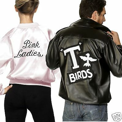 Ladies Mens Couples Official Grease Pink Ladies T-Birds Fancy Dress Costume