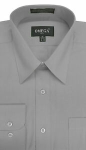 NEW-MENS-Light-Gray-Long-Sleeve-Dress-Shirts-ALL-Sizes-Length