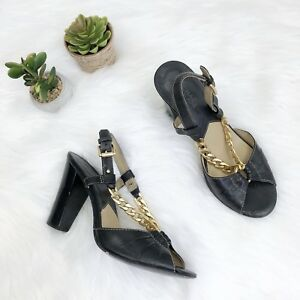 MICHAEL-KORS-Black-Leather-Peep-Toe-Slingback-Gold-Chain-Sandals-Heel-Sz-7-5