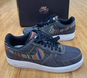 Details about Nike Air Force 1 One Low '07 LV8 Afro Punk Denim 823511 402 Obsidian SZ 12 Jeans