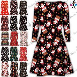 Womens-Christmas-Swing-Dress-Ladies-Xmas-Santa-Gifts-Snowman-Skater-Mini-Dress