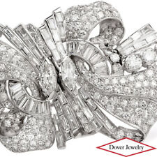 Antique Deco 12.88ct Diamond Platinum Floral Cluster Long Pin Brooch 31.6 Gr NR