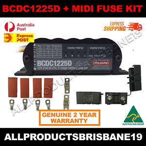REDARC-BCDC1225D-25A-3-Stage-Auto-Battery-Vehicle-Charger-Midi-Fuse-Kit