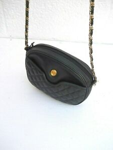 214cbb12303 Ganson Black Quilted Leather Small 2- Comp. Chain Strap Shoulder ...