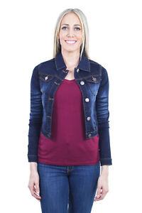 Women-039-s-Juniors-Cropped-Ripped-Denim-Jackets-Long-Sleeve-Jean-Coats