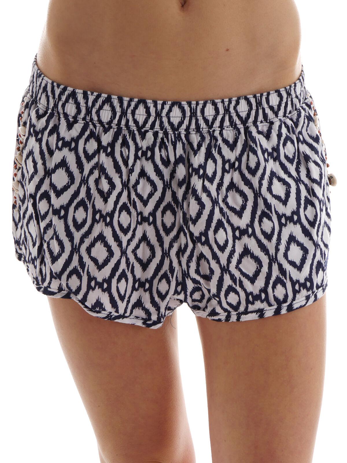 Brunotti Shorts Summer Short Gair blue Loose Fit Ethno Shells Beads