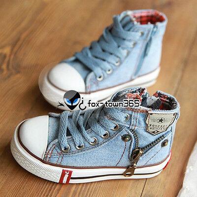 Spring Autumn Girl Boy Juniors Child Kids Baby Canvas Zipper High Jeans Shoes