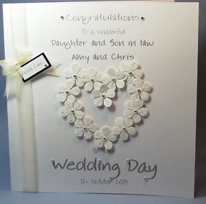 personalised handmade flower heart congrats wedding day card Handmade Wedding Cards For Daughter And Son In Law image is loading personalised handmade flower heart congrats wedding day card handmade wedding cards for daughter and son in law