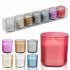 1 Week Set of 7 Day Votive Wax Candles In Coloured Glass Holders Xmas Decor Gift