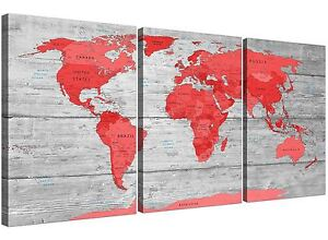 Large red grey map of the world atlas canvas wall art print multi 3 image is loading large red grey map of the world atlas gumiabroncs Image collections