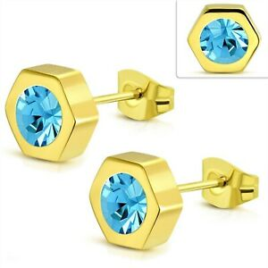 Yellow Gold PVD Stud Earrings Blue Topaz Color Hypoallergenic Surgical Steel