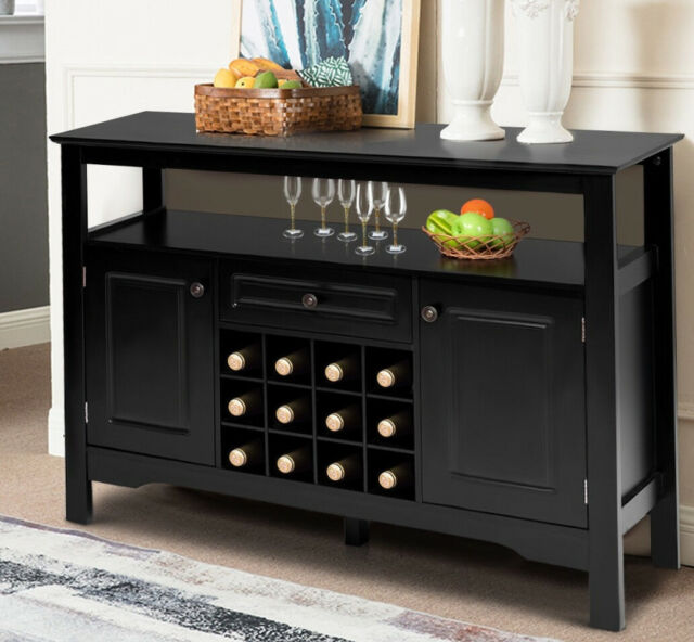 Wine Cabinet Home Bar Black Wood Bottle Rack Liquor Storage Holder Buffet Table