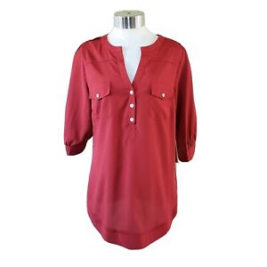 NWT Stitch Fix 41 Hawthorn Filbert 3/4 Sleeve Red Popover Blouse Top Women's M