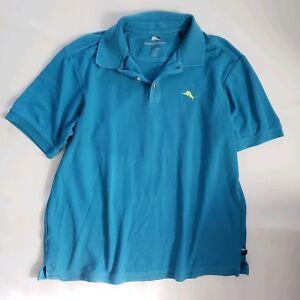 Tommy-Bahama-Mens-Xl-Blue-Short-Sleeve-Pima-Cotton-Henley-Shirt