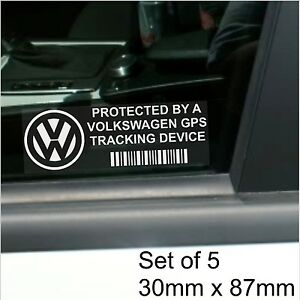 5-x-Volkswagen-GPS-Tracking-Device-Security-Stickers-Polo-Golf-Car-Alarm-Tracker