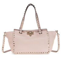 Valentino Rockstud Small Double Handle Leather Tote Bag (Powder Pink)