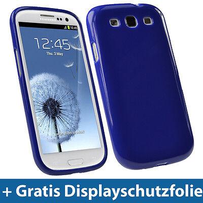 Blau Glanz TPU Gel Tasche für Samsung Galaxy S3 III i9300 Skin Schutz Hülle