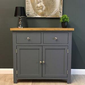 Painted Oak Sideboard Small Dark Grey Cupboard Solid