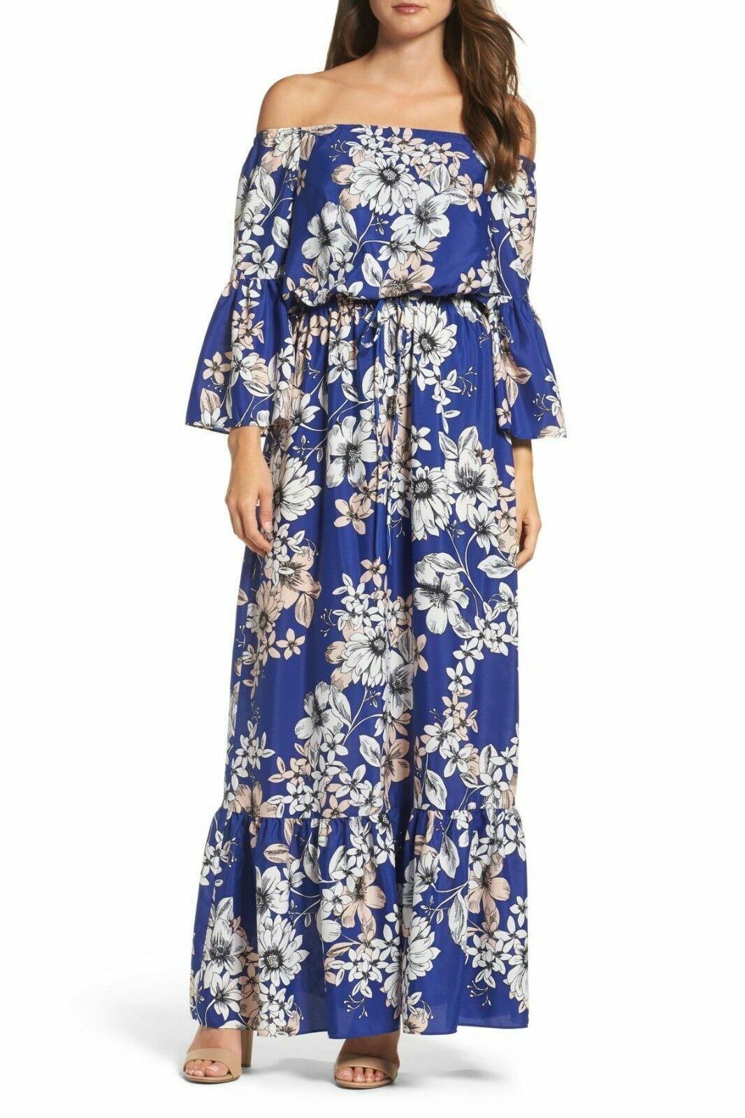 ELIZA J OFF- THE -SHOULDER FLORAL Blau MAXI DRESS sz 4P