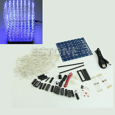 3D LightSquared 8x8x8 LED Cube White LED blue Ray DIY New Kit