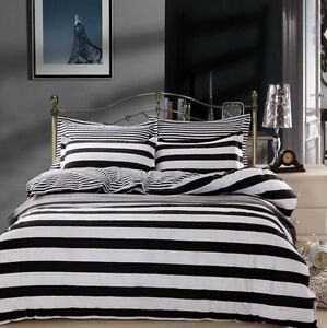 Black-amp-White-Striped-Bedding-Quilt-Duvet-Doona-Cover-Set-Single-Queen-King-Size