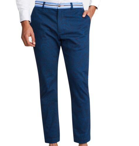 Tallia Mens Blue 36X29 Paisley Print Straight Fit Chino Pants Stretch $78 #171