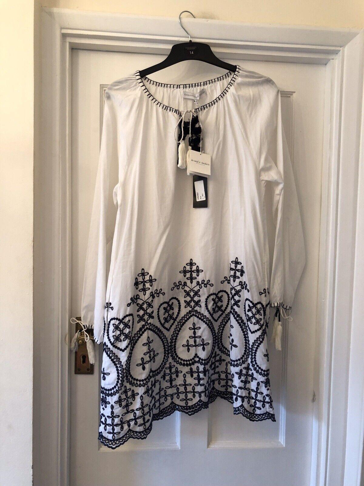 Nouveau Christophe SAUVAT Weiß & Blau Colombe Tunique Caftan Boho robe d& 039;été, L