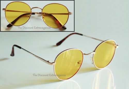 Oval Almost Round Lens Lightweight Pliable Textured Gold Metal Frame Sunglasses