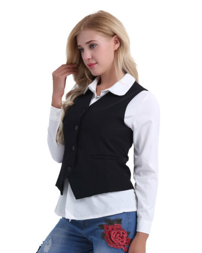 Ladies Formal Work Dress Suit Vest Sleeveless Cafe Waitress Waistcoat Jackets