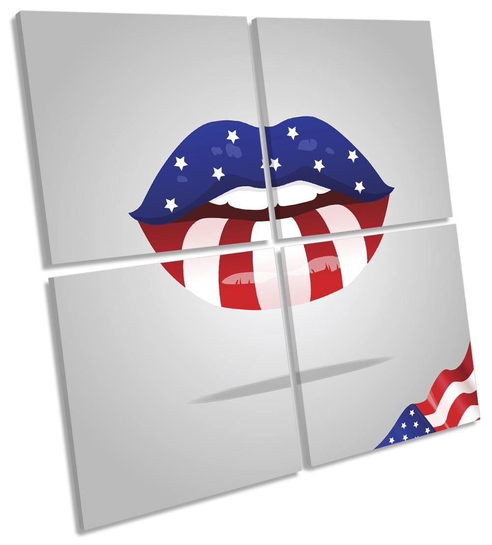 Stars and Stripes Lips Picture MULTI CANVAS WALL ART Square