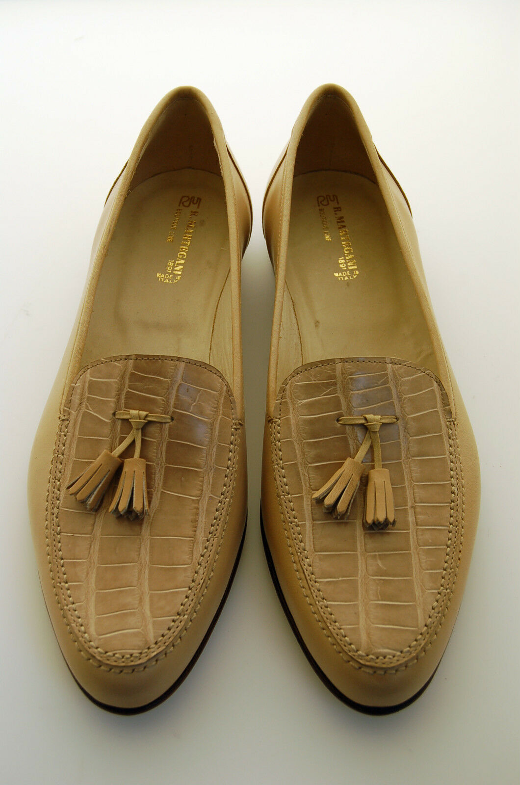 MAN MAN MAN - 42½- 8½eu - PENNY LOAFER-GENUINE BEIGE ALLIGATOR & CALF-LTH SOLE-BLAKE CST 0aed75