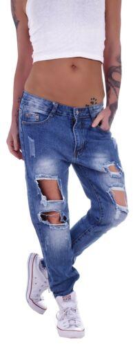 Damen Boyfriend Baggy Hüftjeans Jeans Denim Ripped Girlfriend Hose Destroyed M18