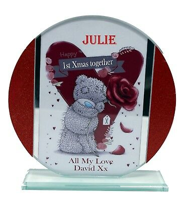 1st Christmas Together Personalised Gift Red Cut Glass ...