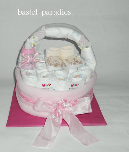 Windelgeschenk Windeltorte *Körbchen Baby Mädchen Babyschuh Booties Geschenk