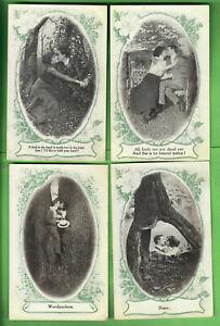 1910-BAMFORTH-POSTCARDS-ROMANCE-LOVE-SERIES-LOT-OF-5-DIFFERENT-UNUSED