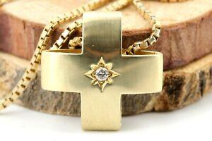 Gold Kette Anhänger Kreuz Gold 585 750 Gelbgold 1 Brillant ca. 0,05ct VS1H 50cm