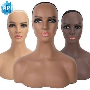 "18"" realistic mannequin wig head pvc manikin shoulder bust"