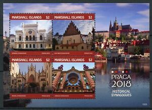 Romantique Marshall Islands 2018 Mnh Praga Historical Synagogues 4v M/s Architecture Stamps