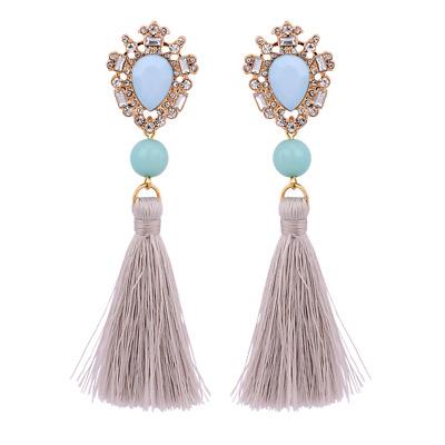 Drop Earrings Tassel Gold Blue Round Crystal Stone Elegant Women Jewelry