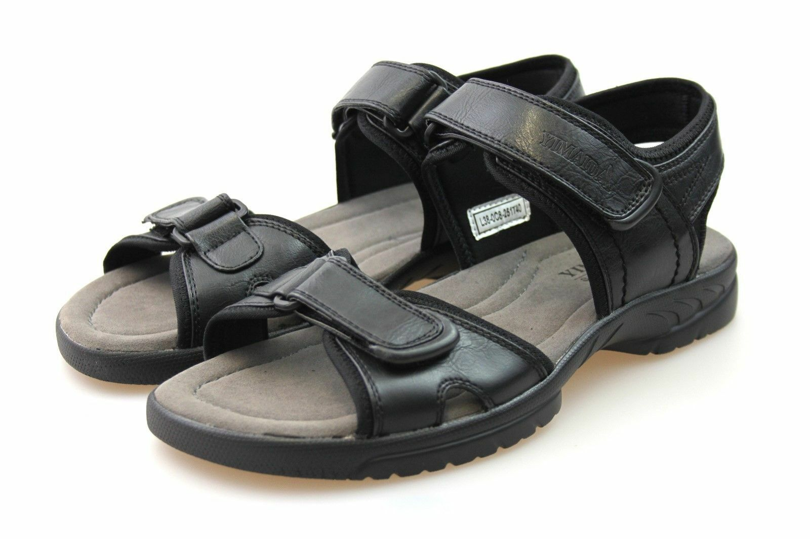 13bfd63ccb43 Mens Black Black Black Leather Look Walking Summer Open Beach Sandals Size  6 7 8 9 10 11 bc76b3