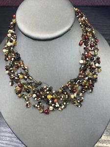 """Vintage Bohemian 16"""" Delicate multi strand seed bead necklace Earth Tone"""
