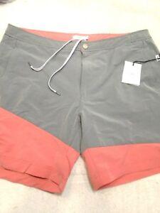 Onia-Calder-Stretch-Nylon-Blend-Gray-amp-Red-Color-Block-Swim-Trunks-NWT-38-175