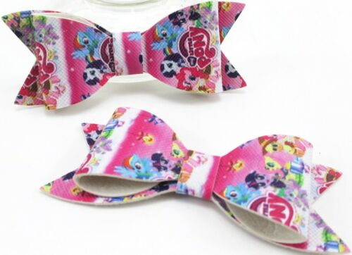 MY LITTLE PONY Leather Look Hair Bows Synthetic Clip Jack Rainbow Dash Pattern