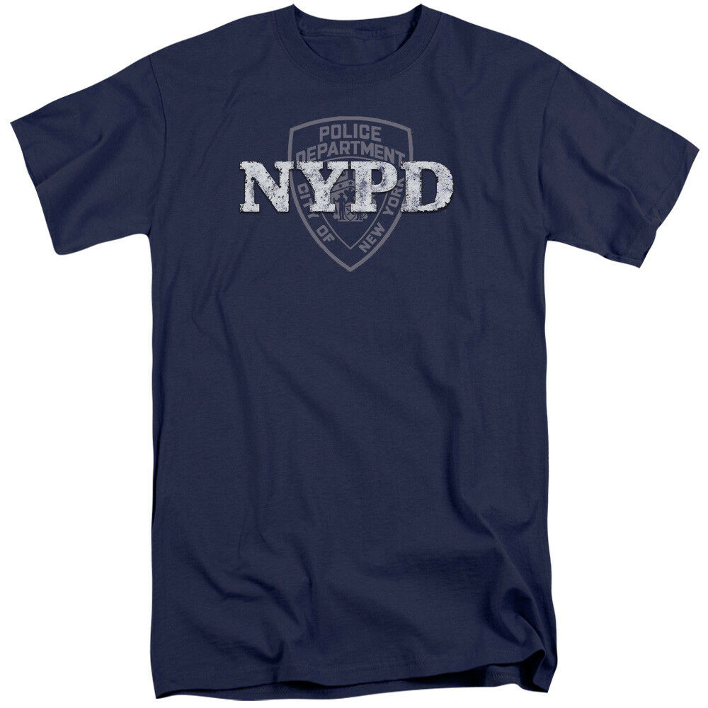 NYPD Tall T-Shirt New York Police Dept Logo Navy bluee Tee
