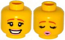 LEGO - Minifig, Female Head Pink Lips, Smile / Eyes Closed, Kissing Pattern
