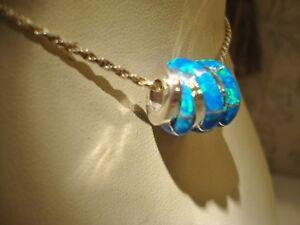 EUROPEAN-BRACELET-or-PENDANT-Swizzle-Blue-Bright-FIRE-OPAL-Bead-Sterling-silver