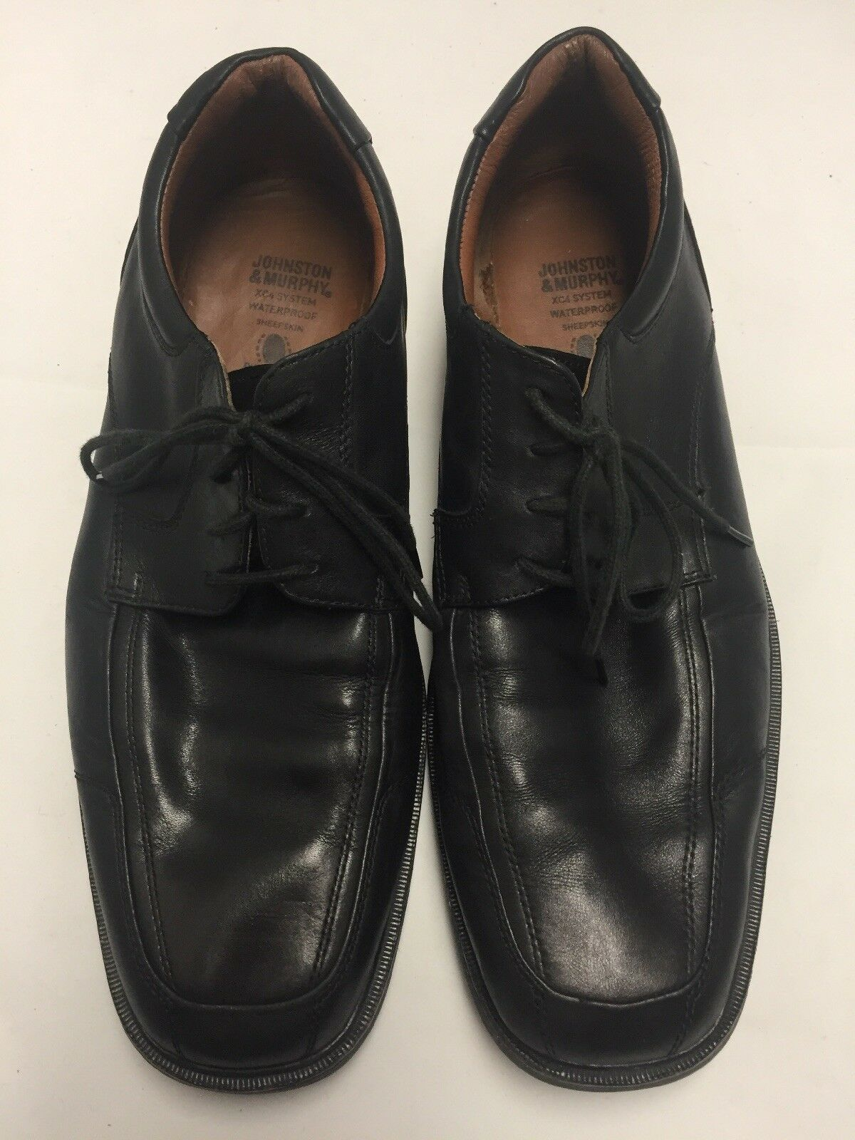 Johnston Murphy XC4 Oxford Waterproof Mens Black Sheepskin Leather Shoes Sz 11M
