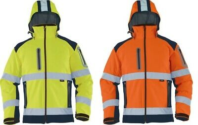 Warnschutz-Softshelljacke 2farbig mit abnehmbarer Kapuze Gr.S-5XL